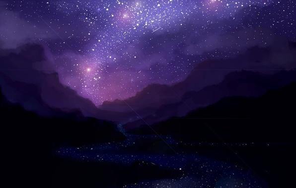 Картинка ночь, арт, звездное небо