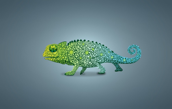 Картинка зеленый, хамелеон, ящер, светлый фон, chameleon