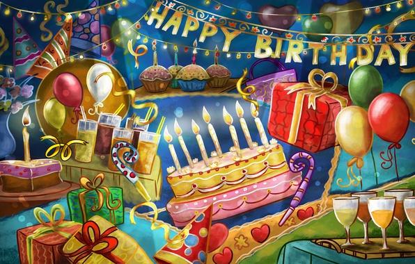 Картинка шарики, день рождения, праздник, подарки, торт, happy, поздравление, birthday