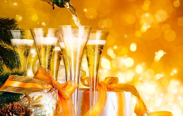 Картинка стекло, цвета, звезды, украшения, желтый, ленты, вино, шары, магия, бутылка, шар, красота, Рождество, фотографии, красивая, ...