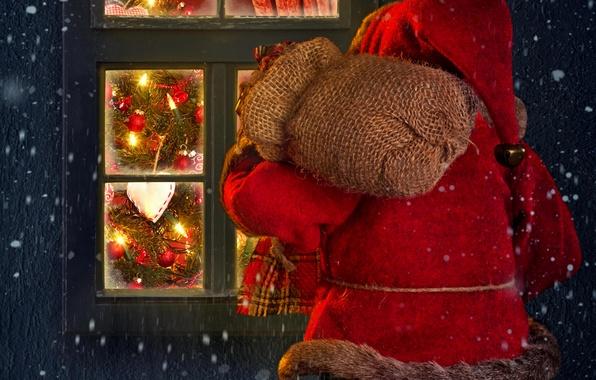 Картинка зима, снег, lights, огни, дом, праздник, окно, house, Санта Клаус, winter, snow, window, Merry Christmas, …