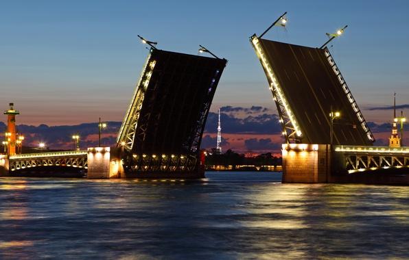 Картинка ночь, город, река, обои, Питер, Санкт-Петербург, белые ночи, wallpaper, Россия, северная столица, разводной мост, Нева
