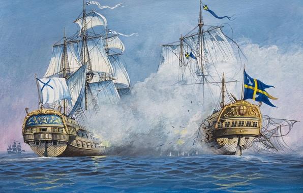 Картинка волны, масло, взрывы, корабли, всплески, бой, арт, акварель, флот, битва, Россия, сражение, Швеция, морской, воде, ...