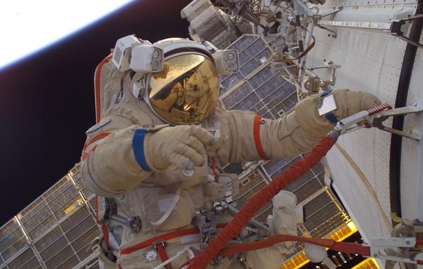 Картинка космонавт, Космос, МКС, Орлан М, Российский скафандр