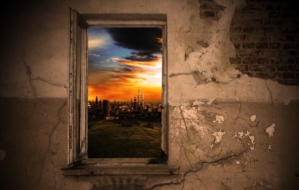 Картинка city, windows, wall, bricks