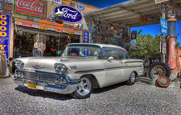 Картинка ретро, заправка, Chevrolet, автомобиль, классика, Chevy, бензоколонка, 1958, сервис
