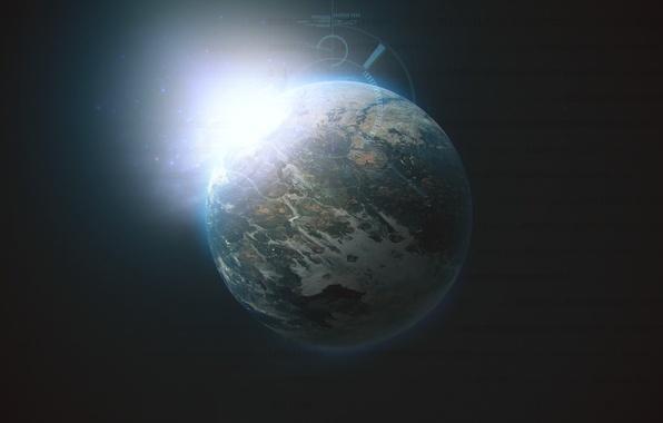 Картинка планета, свечение, Космос, space, кодировка