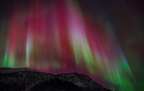 Картинка небо, звезды, ночь, северное сияние, Aurora Borealis