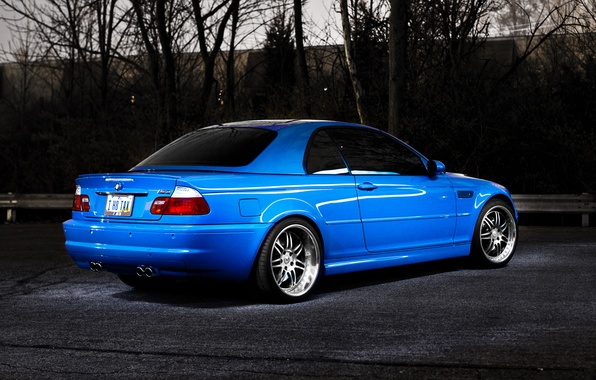 Картинка деревья, синий, бмв, BMW, blue, E46