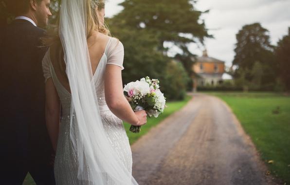 Картинка букет, платье, влюбленные, невеста, фата, жених, свадебный