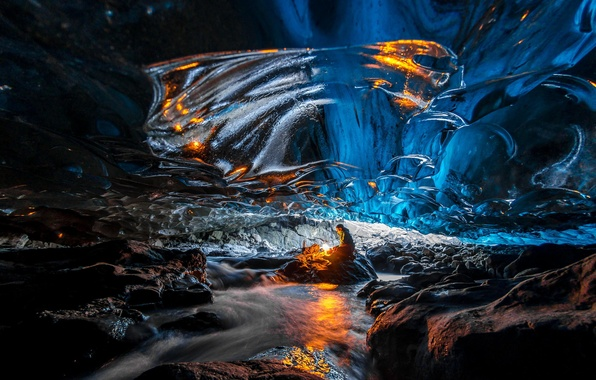 Картинка лед, огонь, пещера, человет