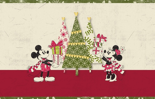 Картинка елка, Рождество, подарки, Микки Маус, Mickey Mouse, Минни