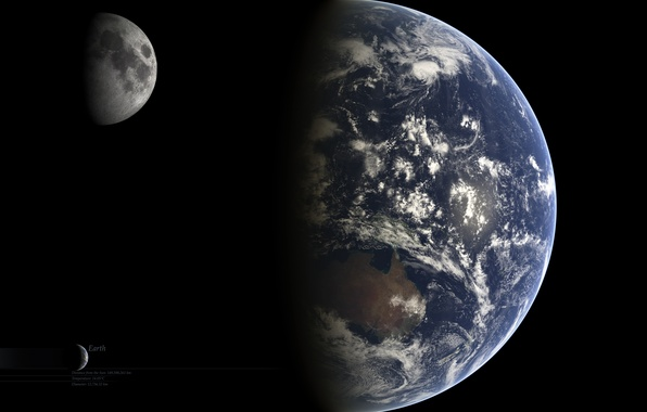 Картинка Луна, Земля, Moon, Earth