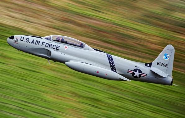 Картинка небо, оружие, самолёт, Lockheed T-33 Shooting Star