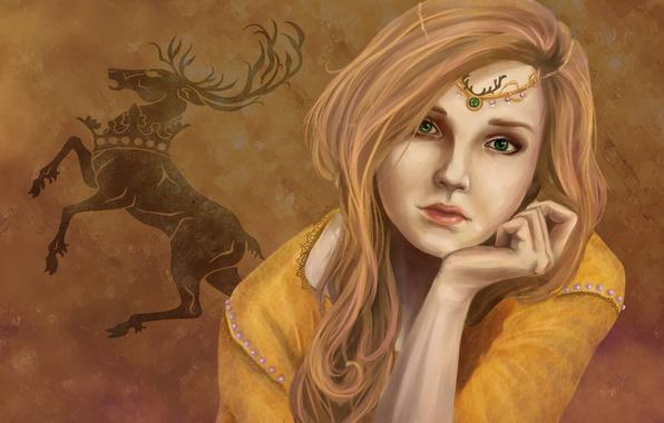 Картинка взгляд, девушка, фон, арт, зеленые глаза, Game of Thrones, Myrcella Baratheon