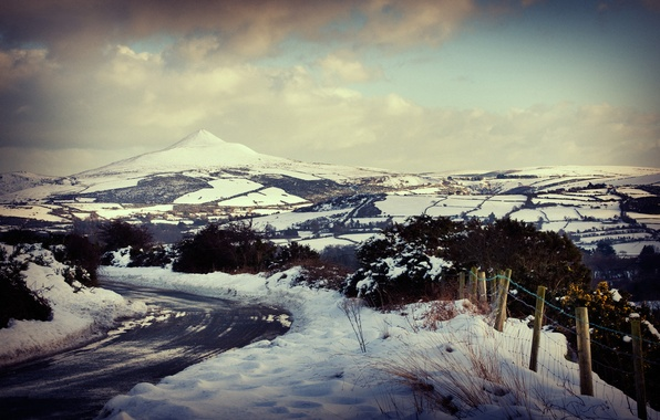 Картинка зима, дорога, снег, горы, города, пейзажи, дороги