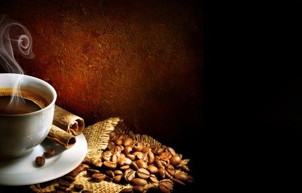 Картинка пена, кофе, палочки, пар, чашка, корица, steam, блюдце, cup, зёрна, Coffee, кофейные, foam, мешочек, cinnamon, …