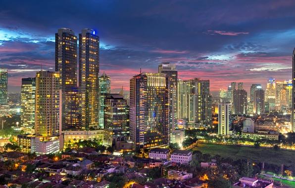 Картинка city, город, огни, здания, дома, небоскребы, вечер, освещение, Индонезия, мегаполис, evening, столица, capital, Джакарта, Indonesia, …