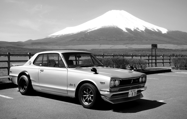 Картинка Япония, Гора, Машина, ч/б, Ниссан, Japan, Nissan, 2000, Skyline