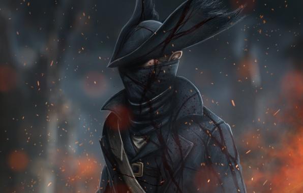 Картинка кровь, шляпа, арт, охотник, rpg, bloodborne