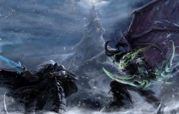 Картинка demon, warcraft, night elf, illidan, arthas, Illidan Stormrage, Arthas Menethil