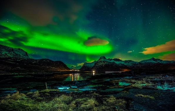 Картинка зима, ночь, северное сияние, Норвегия, Лофотенские острова