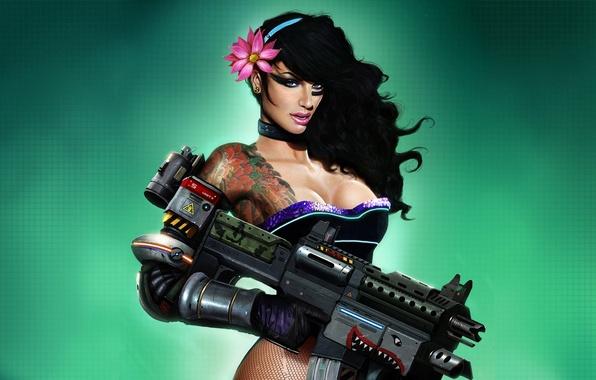 Картинка девушка, оружие, графика, брюнетка, автомат, татуировка, корсет, иллюстрация, Dan LuVisi, Last Man Standing
