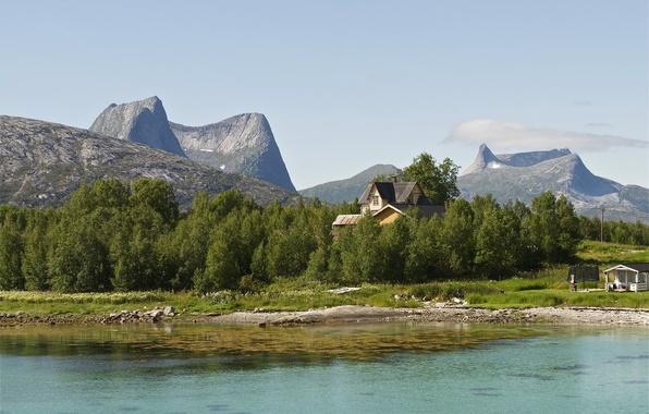 Картинка деревья, пейзаж, горы, природа, озеро, дома, Норвегия, Narvik