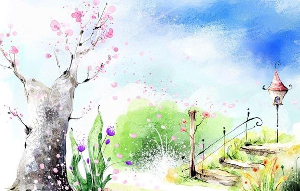 Картинка цветы, парк, весна, лестница, фонарь