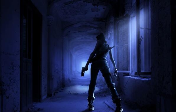 Картинка девушка, ночь, пистолет, оружие, меч, коридор, убийца, мрачно