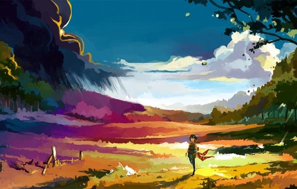 Картинка девушка, облака, деревья, ветер, ограда, арт, нарисованный пейзаж