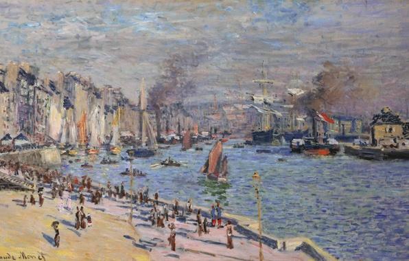 Картинка небо, пейзаж, город, река, люди, берег, лодка, дым, корабль, дома, парусник, картина, пароход, парус, прогулка, …