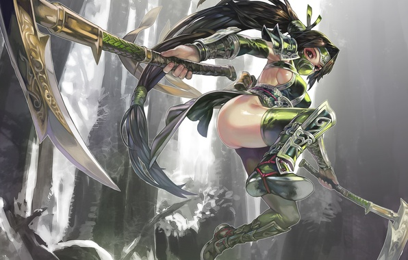 Картинка девушка, оружие, прыжок, арт, league of legends, akali, omegaboost, aoin