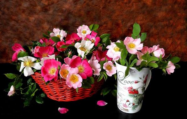 Картинка цветы, фон, корзина, бокал, розы, лепестки, розовые, чайные