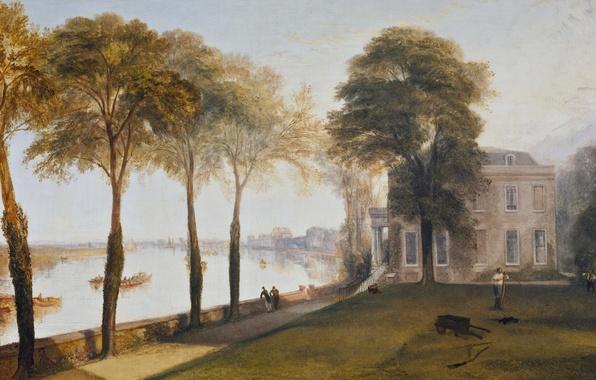 Картинка деревья, пейзаж, дом, река, картина, Уильям Тёрнер, Early Summer Morning, Mortlake Terrace