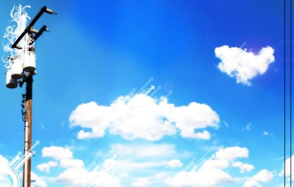 Картинка небо, пейзаж, природа, голубой, обоя
