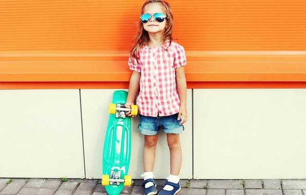 Картинка лето, очки, девочка, Skateboard, скейтборд, child, Little girls