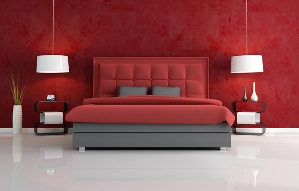 Картинка белый, красный, стиль, комната, кровать, вазы