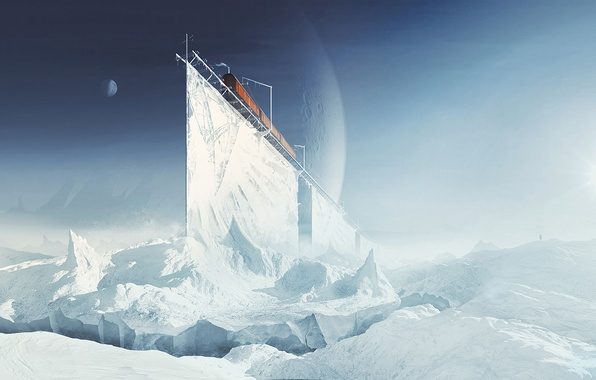 Картинка холод, лед, зима, снег, горы, фантастика, планеты, поезд, вагоны