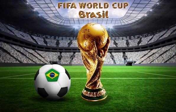 Картинка футбол, мяч, Бразилия, stadium, football, flag, ball, кубок мира, World Cup, Brasil, FIFA, 2014, golden …