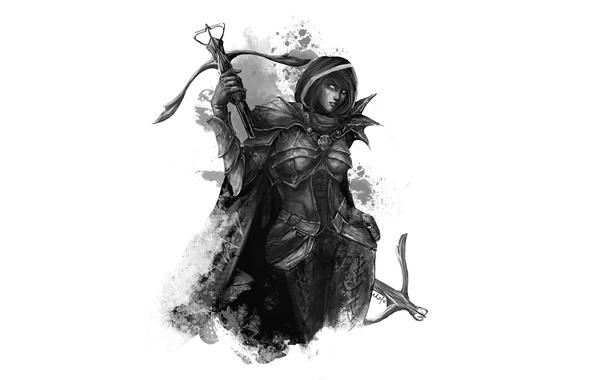 Картинка девушка, доспехи, арт, Diablo III, demon hunter, охотник на демонов, арбалеты, eksfo