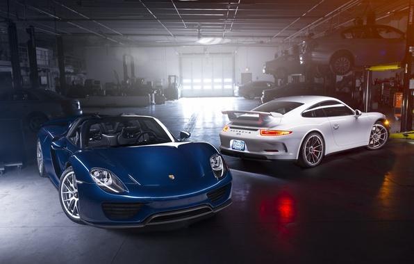 Картинка Porsche, Blue, Front, Spyder, 918, GT3, White, Supercars, Garage, Automotive, Rear