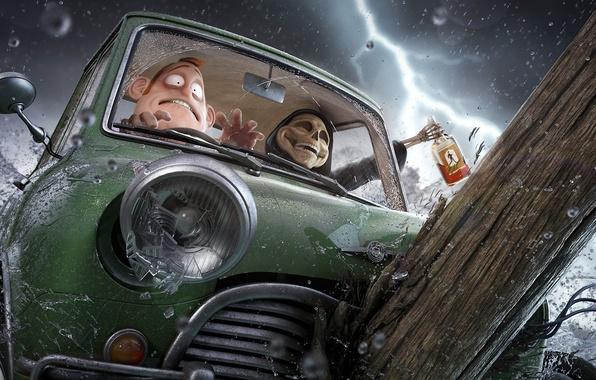 Картинка машина, авария, радость, брызги, смерть, страх, дождь, молния, череп, бутылка, мужик, арт, алкоголь, бревно