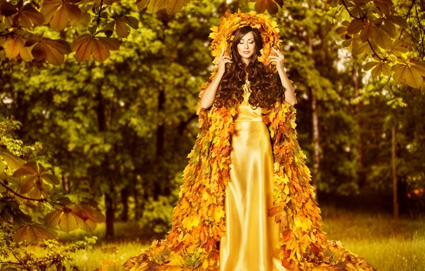 Платья для осени в листьях картинки