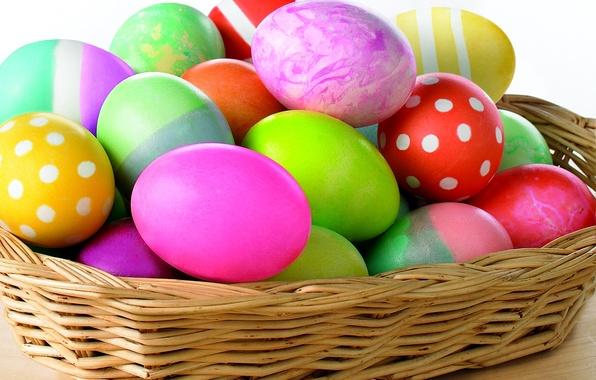 Картинка краски, яйца, весна, пасха, корзинка