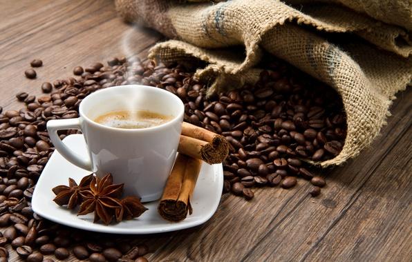 Картинка кофе, зерна, чашка, корица, coffee, пряности, cinnamon, анис, anise