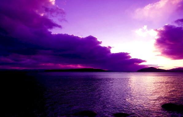Картинка небо, облака, закат, горы, тучи, озеро, зарево