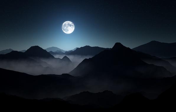 Картинка небо, пейзаж, горы, ночь, туман, тьма, moon, landscape, mountains, stars, darkness, полная луна, lighting, foggy, …