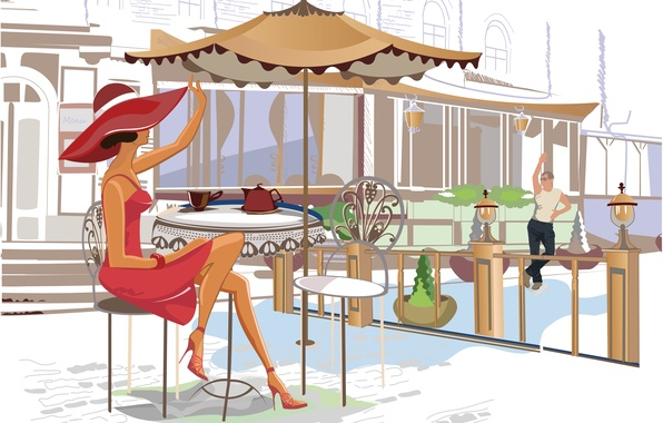 Картинка девушка, чай, чайник, кафе, парень, столик