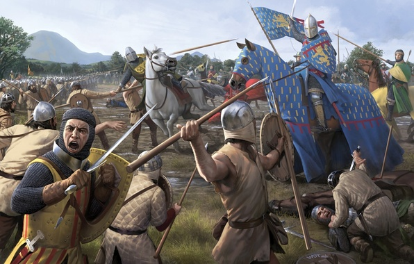 Картинка оружие, конь, лошадь, меч, войны, арт, копье, битва, труп, средневековье, поле брани